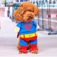 Lovely Pet Cat Dog Superman Costume Suit Puppy Dog Clothes Outfit Superhero Apparel Clothing for Dogs