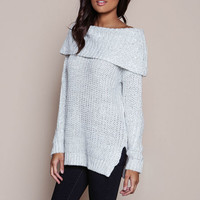 IVORY OFF SHOULDER CHUNKY KNIT SWEATER