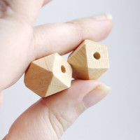 Multi Faceted Geometric Natural Unfinished Wood Beads 16 mm - 10 pcs - made from fir-tree
