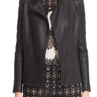 Yigal Azrouël Lace-Up Detail Lambskin Leather Jacket | Nordstrom