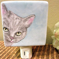Night Light Plug in Cat Gray Lighting Porcelain Ceramic Hand Painted by blm