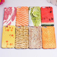 Funny Delicious Food Meat Vegetable Fruit Watermelon Painting Mobile Phone Cover Cases For iPhone 5 5G 5S 6 6G 6S 4.7 6Plus 5.5