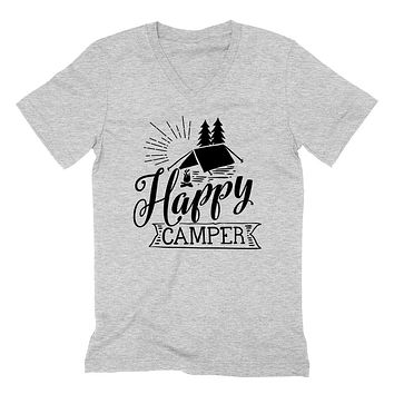 Happy camper  camp camping hiking  funny  camp lover   V Neck T Shirt