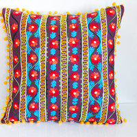 Colorful Turkish Traditional Decorative Pillow, Cushion Cover, Embroidered Pillow, Cotton Pillow Case