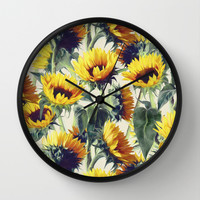 Sunflowers Forever Wall Clock by Micklyn