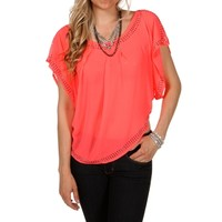 Neon Coral Embellished Blouse