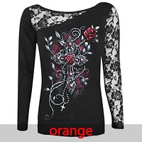 Fashion Women Blouse Sexy Skull Print Long Sleeve Shirt Lace Patchwork Tops Pullovers Black Plus Size S-5XL Women Clothes 7915C
