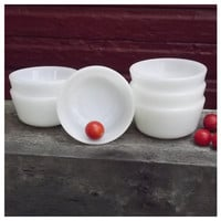 Vintage Custard Cups - Fire King - Milk Glass - 434 - Dessert Cup - Mid Century Kitchen - White - 6 oz. - Ramekin