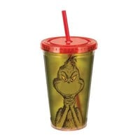"""Vandor 17114 Dr. Seuss """"You're a Mean One Mr. Grinch"""" 18 oz Acrylic Travel Cup with Lid and Straw, Green, Red and White"""