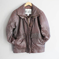 Genuine Dark Brown Leather Bomber Jacket Quilted Leather Jacket 90s Vintage Size M #O154A