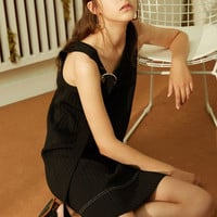 Black Sleeveless Knit Mini Dress