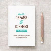 2014 Planner & Pencil Set, Funny Note Pad - Tangible Dreams and Schemes 2014 Edition, Unique, Choose Your Color