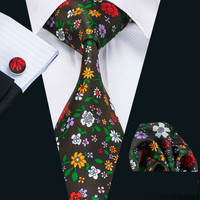New Arrival Fashion Silk Ties For Men High Quality Design Necktie Handkerchief Cufflinks Set For Wedding Party