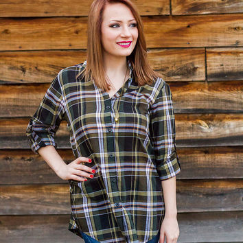 Down in the Bottoms Plaid Button Down Shirt // Forest