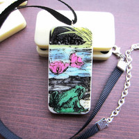 Frog Necklace, Domino Necklace, Domino Pendant, Upcycled Necklace, Handmade Necklace, Stamped Pendant, Animal Jewellery, Animal Jewelry