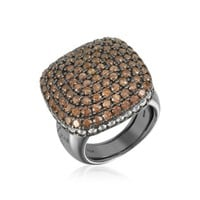 Azhar Designer Rings Cubic Zirconia Sterling Silver Square Cocktail Ring