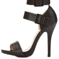 Python Single Sole Ankle Strap Heels by Charlotte Russe - Black
