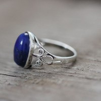 antique filigree Celtic ring Lapis lazuli stone jewelry Victorian fashion gift for graduation is good [R118A] : The water for design jewelry