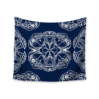 """Jennifer Rizzo """"Williams Flowers"""" Navy White Wall Tapestry"""