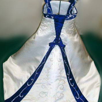 Handcrafted Embroidered Flower Girls' Dress with Beadings and Colorful Trim Cute Miniature Wedding Dress