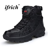 High Top Sneakers for Male Black Sand Man Hiking Shoes Winter Mens Combat Boots Rubber Bottom Comfortable Trekking Shoes