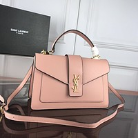 YSL Newest Popular Women Leather Handbag Tote Crossbody Shoulder Bag Satchel Burgundy