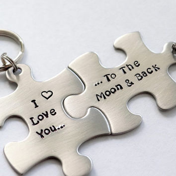 I Love You To The Moon And Back Matching Keychains. Couple's Puzzle Piece Keychains.  His and Hers