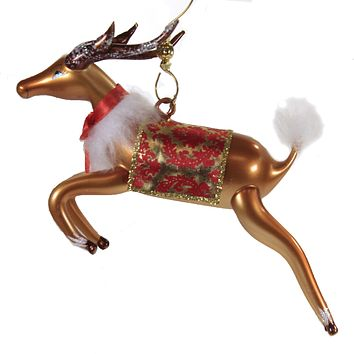 De Carlini Reindeer With Fabric Saddle Italian Ornament - A1081 RED