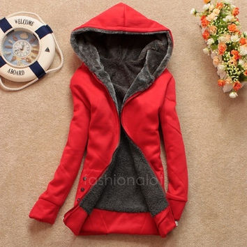 Fashion Casual Women's Ladies' Thicken Warmer Hoodie Coat Outerwear Jacket FT = 1930043396