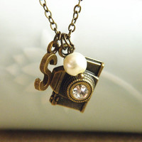 initial pearl camera necklace jewelry