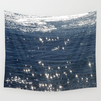 sparkling ocean Wall Tapestry by Littlesilversparks