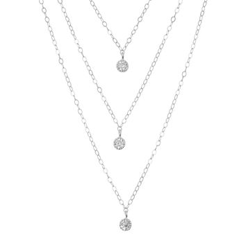 Triple Silver Layered Necklace Set