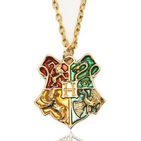 Harry Potter Necklace Hogwarts School Badge Harry Potter Pendant Necklace