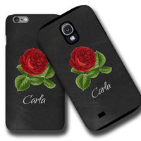 Chalkboard personalized iPhone 6S case, vintage rose iPhone 6s plus case, iPhone 5, iPhone 5C, iPhone 4 Case floral Samsung Galaxy cases