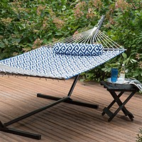 Blue White Meander Quilted 11-Ft Hammock with Sturdy Metal Stand