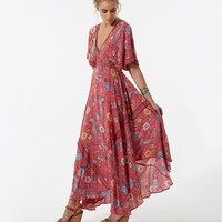 Boho Long Flower Maxi Dress Bohemian Maxi Dress Sexy Floral Print Beach Dresses