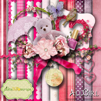 All Girl - Digital Scrapbook Kit - Printable Backgrounds - 12x12 inch Papers - CLUSTER Frames - FREE Quickpage Layout