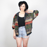 Vintage Silk Bomber Jacket Tribal Print Windbreaker Jacket 1980s Slouch Fit Track Tacket Wind Breaker Athletic Sporty Coat M Medium L Large