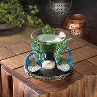 Perched Peacock Feathers Plume Oil Warmer