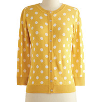 ModCloth Mid-length 3 Jukebox Jubilee Cardigan in Yellow