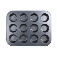 Mini 12-cup Muffin Stainless Iron Nonstick Pan Baking Tray Tin Cup Cakes Pudding Muffin Bun New Kitchen Tool