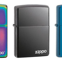 Zippo Lighter Set - Sapphire, Black Ice and Spectrum with Name Logo Pack of 3