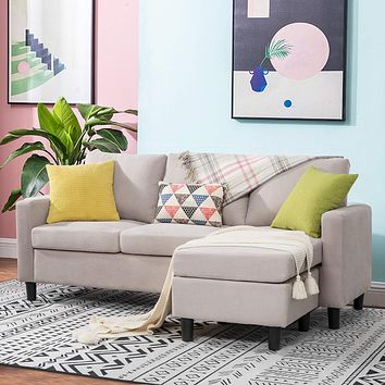 Walsunny Convertible Sectional Sofa Couch with Reversible Chaise, L-Shaped Couch with Modern Linen Fabric for Small Space (Beige) Beige