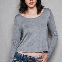Bozzolo Cropped Boxy Scoop-Neck Tee Top With Long Sleeves - Gray