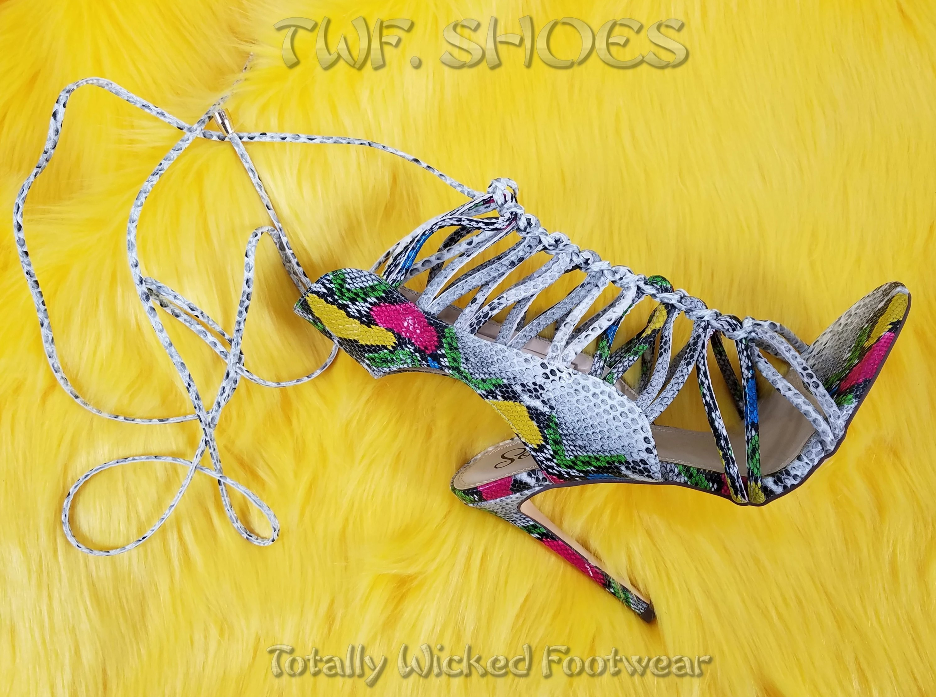 """Image of So Me Lucy Strappy Knotted Detail 4.5"""" High Heel Shoe Multi Snake"""