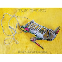 """So Me Lucy Strappy Knotted Detail 4.5"""" High Heel Shoe Multi Snake"""