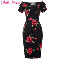 Women Dress 2016 Short Sleeve Off Shoulder Slim Bodycon Pencil Dress 50s 60s Rockabilly Floral Swing Summer Dress Tunic Vestidos