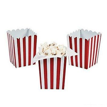 Mini Red Striped Popcorn Boxes - 24 ct by Party Supplies