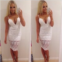 3120475 Sexy deep v-neck white Lace dress