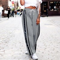 DCCKXT7 Women Loose Casual Stitching Stripe Webbing Thickened High Waist Split Leisure Pants Straight Trousers Sweatpants